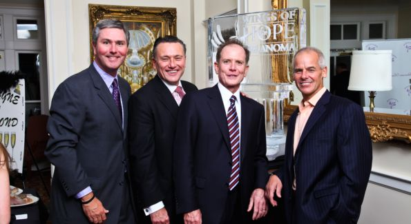 Guests Bud Wilkinson, Chad MacDonald, Bill Reilly and Mike Esposito at the Wings of Hope Gala at the Trump Golf Club. Image courtesy of Tony Powell.