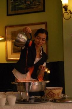 Chantal Tseng mixes the flambeed Cafe Brulot.