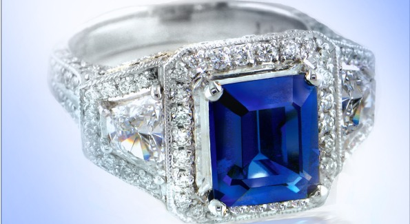 A blue sapphire engagement ring. Image by Adeler Jewelers.
