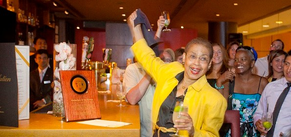 Congresswoman Eleanor Holmes Norton unveils a plaque honoring the birthplace of The Rickey cocktail. (photo by )