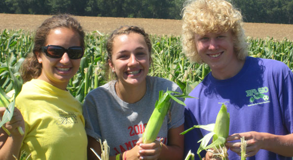 Katie, Ali and Ross, high school students from Jamestown, New York, enjoyed gleaning at Parker Farms as part of their service trip to Washington, DC.