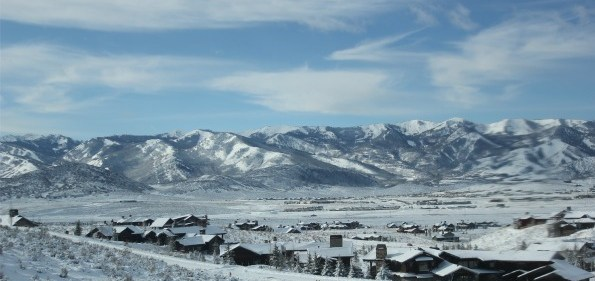 The Wasatch Mountain Range of Utah, with Park City in the distance. Photo by John Arundel.