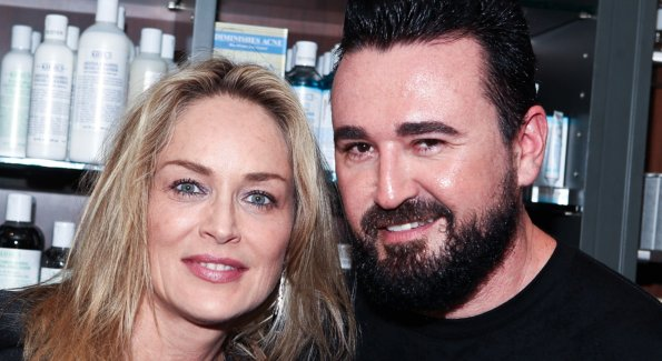 Sharon Stone, Global Fundraising Chairman, amfAR with Chris Salgardo, President, Kiehls