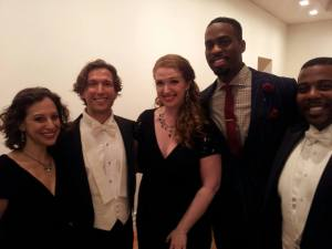 Soloists L to R: Jennifer Zetlan, Aaron Blake, Jennifer Feinstein, Soloman Howard and Sidney Outlaw (Photo by Patrick D. McCoy)