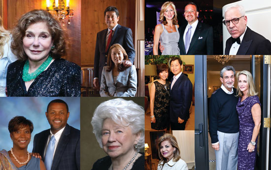 Clockwise from top left: Teresa Heinz (file), Dr. Ryuji Ueno and Sachiko Kuno (courtesy S&R Foundation), Jean-Marie and Raul Fernandez (file), David Rubenstein (file), Ted and Lynn Leonsis (file), Cindy and Jeong Kim (file), Annie Totah (file), Betty Brown Casey (courtesy), Brenda and Mark Moore (courtesy).