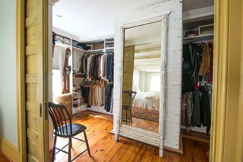 The walk-in closet in the master bedroom.