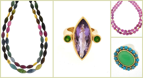 "Dina Mackney designs from left: tourmaline double necklace, ""Amy"" chrome ring, pink sapphire necklace and turquoise and chrysoprase ring. (Courtesy photos)"
