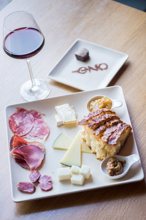 Sip on bubbly and nosh on charcuterie, cheese and chocolate at ENO Wine Bar. Photo courtesy of ENO Wine Bar.