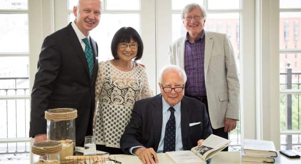 The Hay-Adams VP and GM Hans Bruland, retired Hay-Adams President Kay Enokido, David McCullough, and Tom Crous