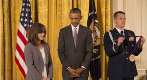 Acclaimed actress Sally Field is presented the 2014 National Medal of Arts by President Obama at The White House. (Photo Credit: