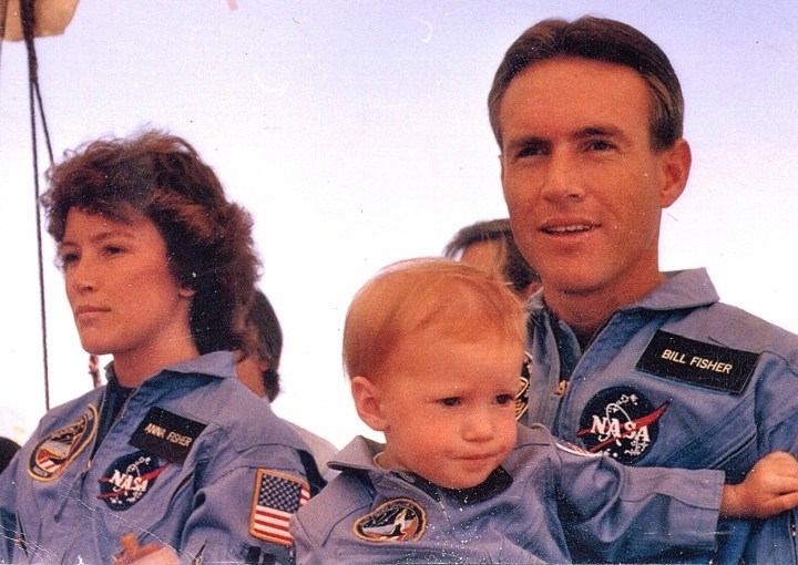 Kristin Fisher with her astronaut parents William and Anna Lee Fisher