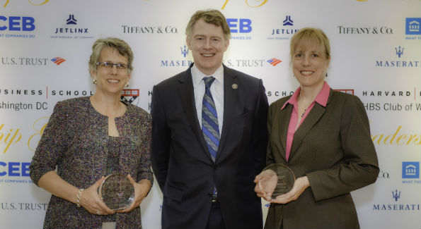 Tom Monohan with awardees Peg Hacskayklo and Jacqueline DeCarlo (Photo by Ben Droz)