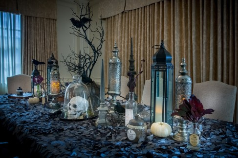 Spooky decorations make for a thrilling evening in the Hay Adam's Transylvania Suite.