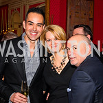 Greg Lopez, Rachel Hayden, David Hagedorn. VIP reception for Relais & Chateaux Hotels. Photo by Tony Powell. French Ambassador's residence. March 28, 2011
