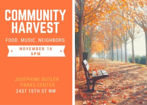 Join us November 16 for our Community Harvest event!