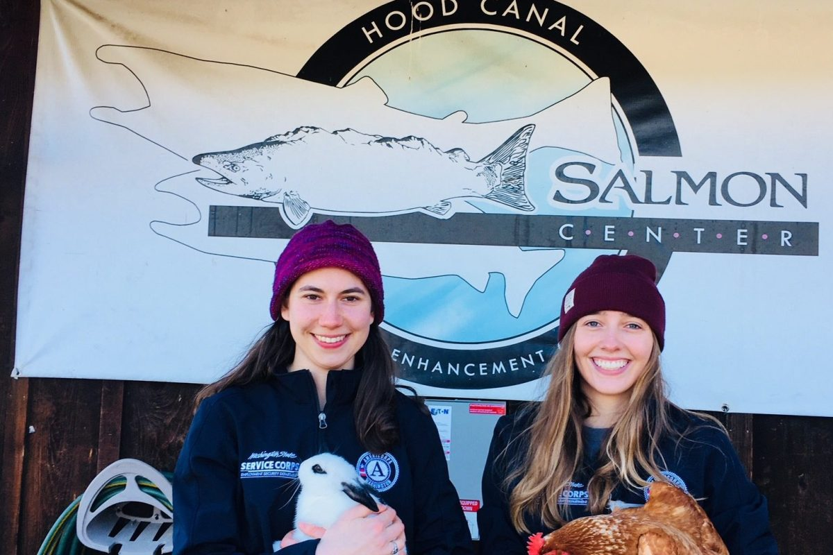 Heather and Emma, WSC AmeriCorps members serving with Hood Canal Salmon Enhancement Group in Belfair, WA