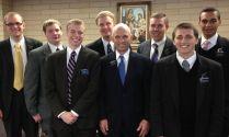 New District Leaders - (Back row) Elders Stacey, Harmon, Barham, Taylor, Fewou. (Front) Elder Hobbs, Pres. Mullen, Elder Clemesha