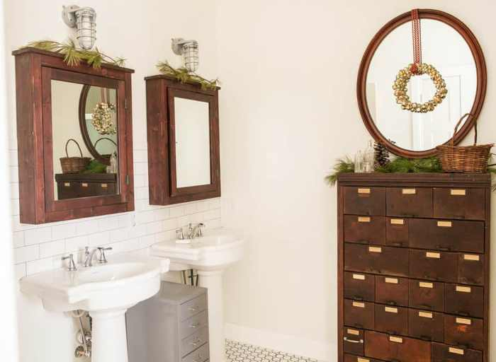 rustic bathroom for christmas and holiday