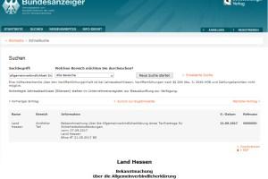 Screenshot des Bundesanzeigers: Allgemeinverbindlichkeit der Tarifverträge Wach- und Sicherheitsgewerbe in Hessen