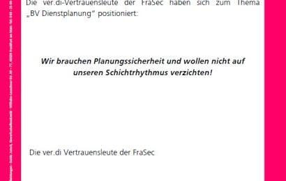 FraSec: ver.di-Position zur Dienstplanung