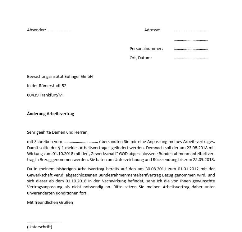 Antwort an Bewachungsinstitut Eufinger