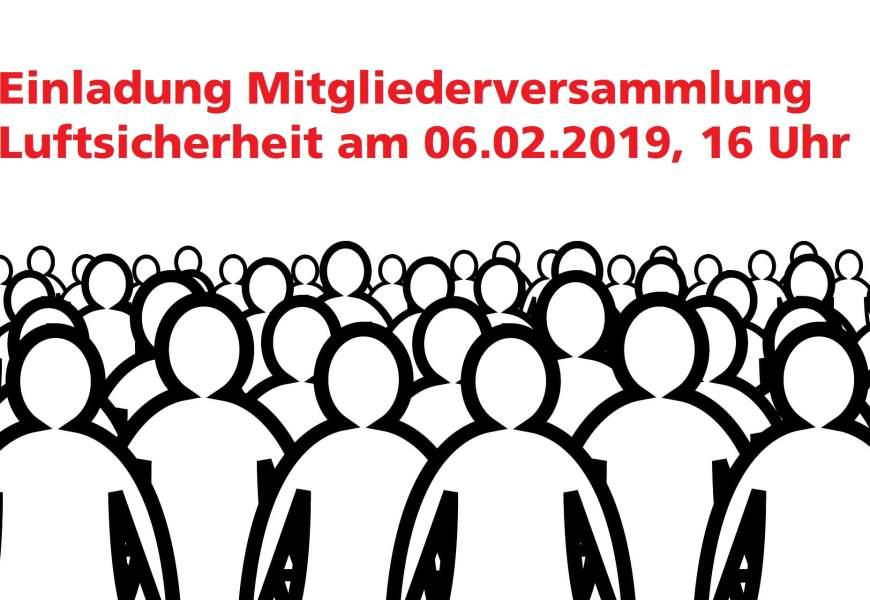 Luftsicherheit: Mitgliederversammlung am 6. Februar!