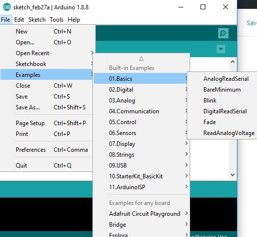 menu example di arduino