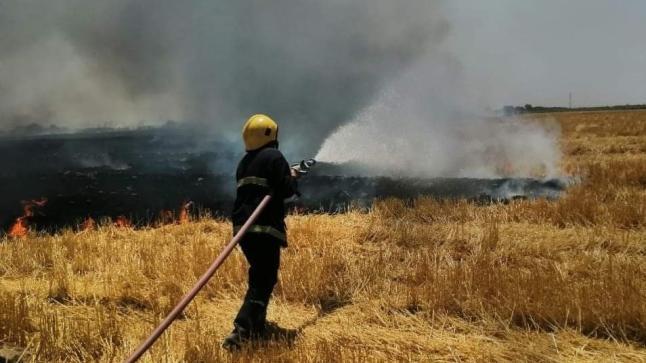الدفاع المدني تخمد حريقاً نشب بأرض زراعية في واسط