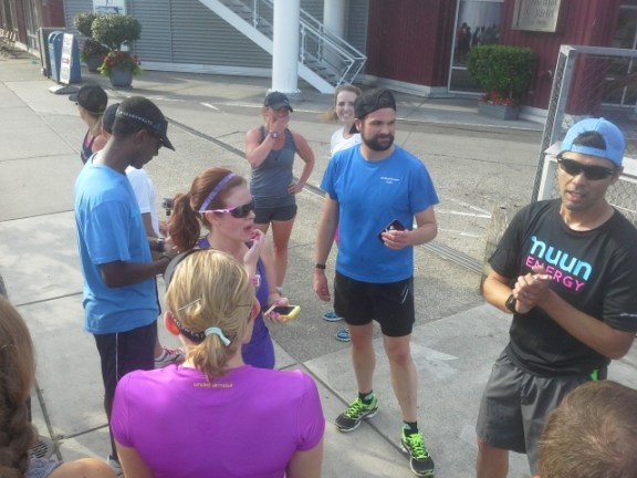 Team shakeout run in downtown Seattle.