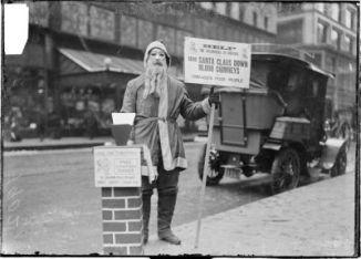 Arbeitsloser im Weihnachtsmannkostüm (Chicago 1902)