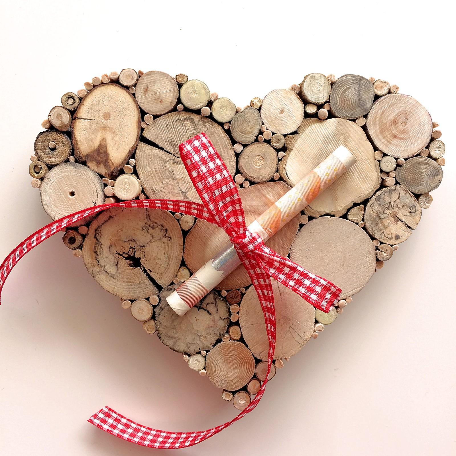Geldgeschenk Für Hochzeit Oder Geburtstag Herz Holz