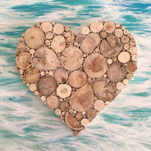 Herz aus Treibholzscheiben, Geschenkidee