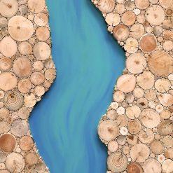 River Holzbild aus Treibholz, Collage