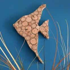 Fisch Treibholz, Holzscheiben Wanddeko