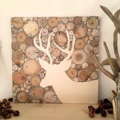 Hirsch Wandbild aus Treibholzscheiben