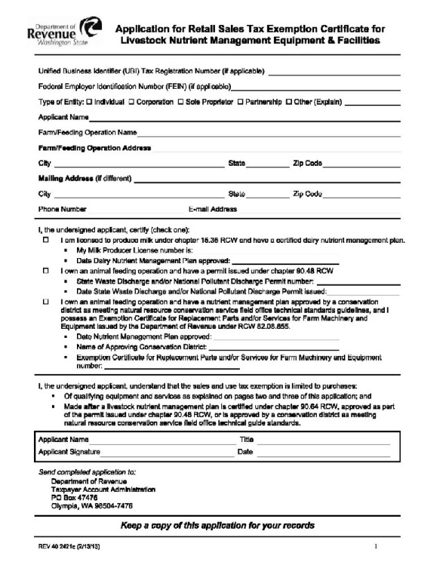 Application For Retail Sales Tax Exemption Certificate For Livestock