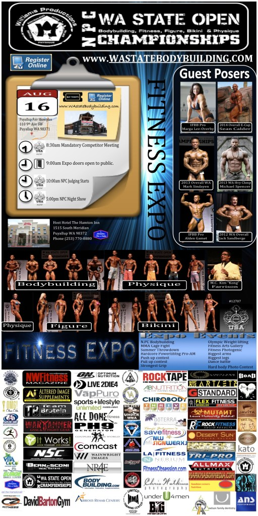 NPC WA State Open Bodybuilding Figure Fitness Bikini Physique Championship, National Qualifier, Williams Productions