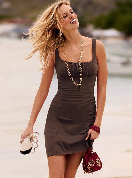 Ruched Squareneck Bra Top Dress
