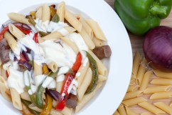 SAUSAGE: Creamy pasta with sausage and peppers