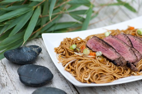 STEAK: Teriyaki noodles with beef