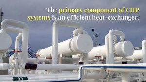 "Image shows: CHP systems efficient heat exchanger. To clarify the term, an image is provided to explain ""What is District Heating and Cooling""."