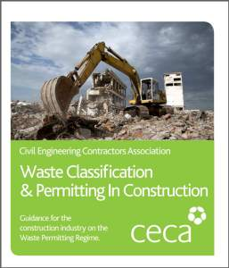 Illustration of the cover of the UK CECA guide to construction waste management pdf.