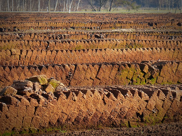 """Images shows """"What is peat free compost"""" - Peat cut from a bog ready for making into peat based compost, which will empty the bog and run-out soon."""