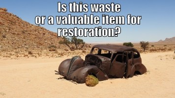 "Image of an abandoned vintage car is it waste - Legal Definition of ""Waste"", article illustration."