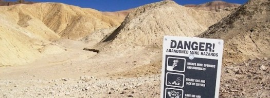 abandoned mine and warning sign