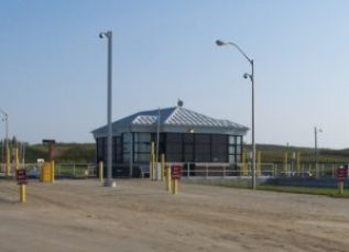 The scale house at the landfill is in use during hours of operation.