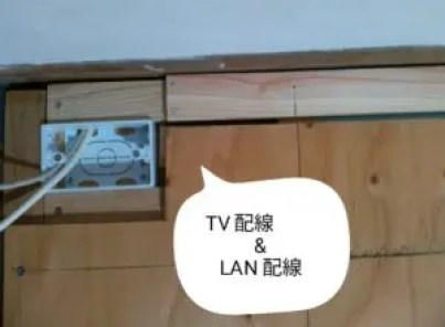 LANケーブルとTVアンテナケーブルの床下からの立ち上がり