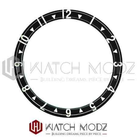 Black Dual Time lumed glass bezel insert for skx007
