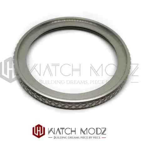 Sandblasted silver wide knurled bezel for skx007