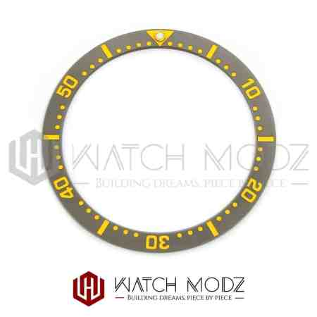 Flat Ceramic Bezel Insert: Gray With Gold Numbers SKX007 Style